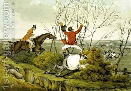 Plunging Through the Hedge by Henry Thomas Alken - Reproduction Oil Painting