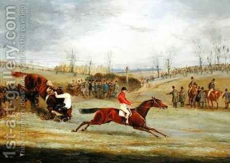 A Steeplechase, Another Hedge by Henry Thomas Alken - Reproduction Oil Painting