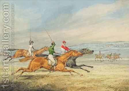 Steeplechasing Three Riders galloping to right, mounted spectators in background by Henry Thomas Alken - Reproduction Oil Painting