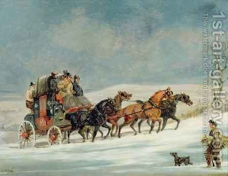 Coach in the Snow by Henry Thomas Alken - Reproduction Oil Painting