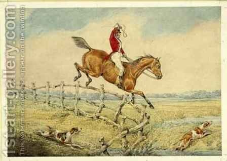 Taking a Fence by Henry Thomas Alken - Reproduction Oil Painting