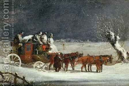 Coaching Scene The London to Dover Mail in Winter by Henry Thomas Alken - Reproduction Oil Painting