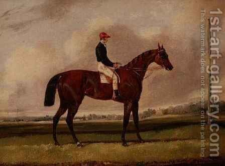 Bay Racehorse with a Jockey on a Racecourse by Henry Thomas Alken - Reproduction Oil Painting
