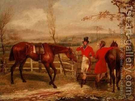 Gentlemen Smoking by a Fence by Henry Thomas Alken - Reproduction Oil Painting