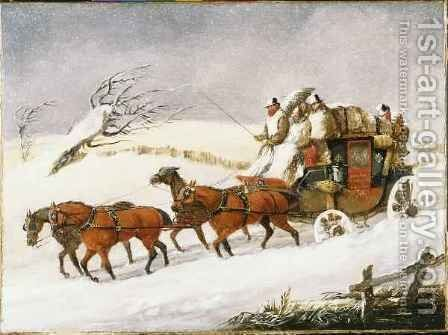 The Dover to London Coach In Winter by Henry Thomas Alken - Reproduction Oil Painting