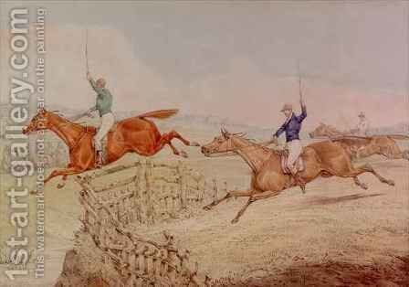 Jumping a Fence by Henry Thomas Alken - Reproduction Oil Painting