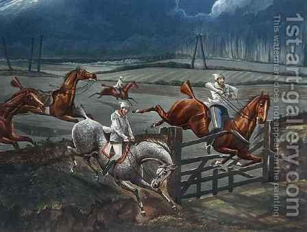 The Last Field near Nacton Heath, plate 3, from 'The First Steeple Chase on Record' by (after) Henry Alken - Reproduction Oil Painting
