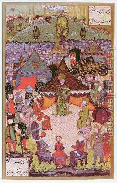 The King of Hungary, Lajos II (1506-26) in council before the battle of Mohacs in 1526 by Beg Ali Amir - Reproduction Oil Painting
