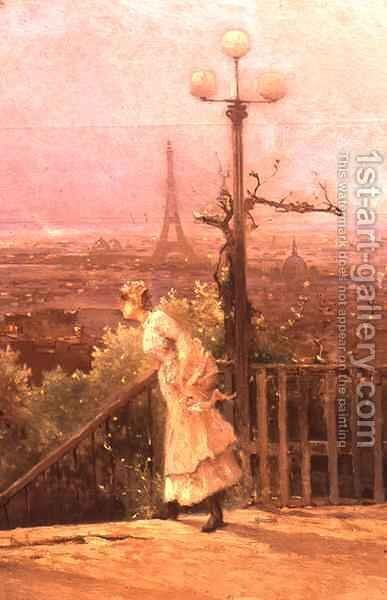 Paris seen from the heights of Montmartre 3 by Jean D'Alheim - Reproduction Oil Painting