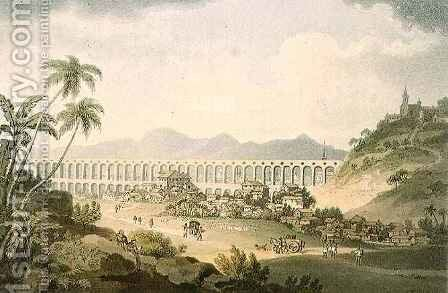 Arcos de Carioco, or Grand Aqueduct in Rio de Janeiro, plate 5 from 'A Voyage to Cochinchina' by (after) Alexander, William - Reproduction Oil Painting