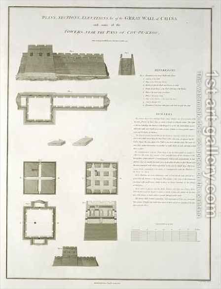 Plans, Sections and Elevations of the Great Wall of China, and some of the Towers, near the Pass of Cou-Pe-Keou by (after) Alexander, William - Reproduction Oil Painting