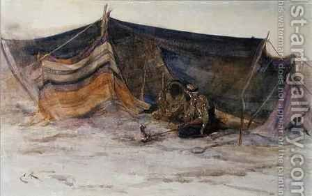 A Bedouin Camp by Edwin John Alexander - Reproduction Oil Painting