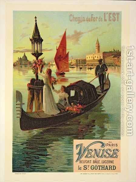Reproduction of a Poster Advertising the Eastern Railway from Paris to Venice by Hugo d' Alesi - Reproduction Oil Painting