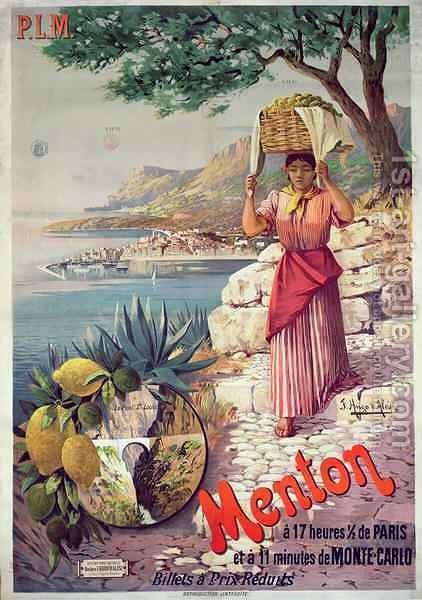 Travel poster advertising the Paris-Lyon-Mediterranee train line and holidays in Menton on the Cote d'Azur by Hugo d' Alesi - Reproduction Oil Painting