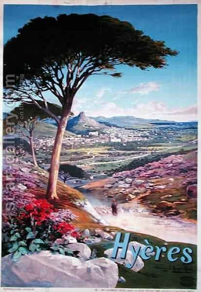 Poster advertising Hyeres, Provence by Hugo d' Alesi - Reproduction Oil Painting
