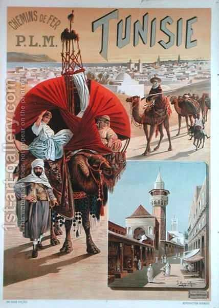 Poster advertising Tunisia by Hugo d' Alesi - Reproduction Oil Painting