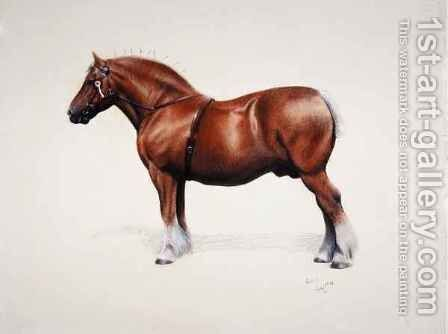 A champion Suffolk Punch by Cecil Charles Aldin - Reproduction Oil Painting