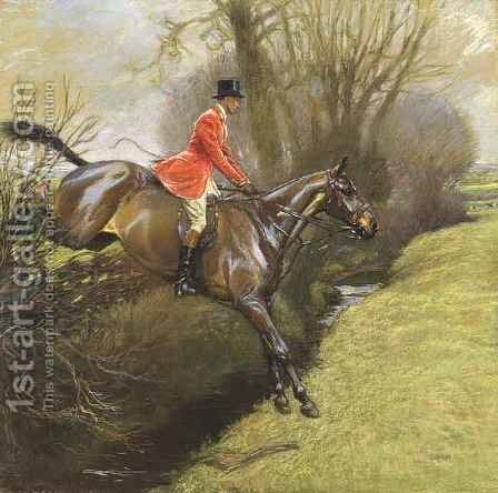 Lt. Col. Ted Lyon Jumping a Hedge by Cecil Charles Aldin - Reproduction Oil Painting