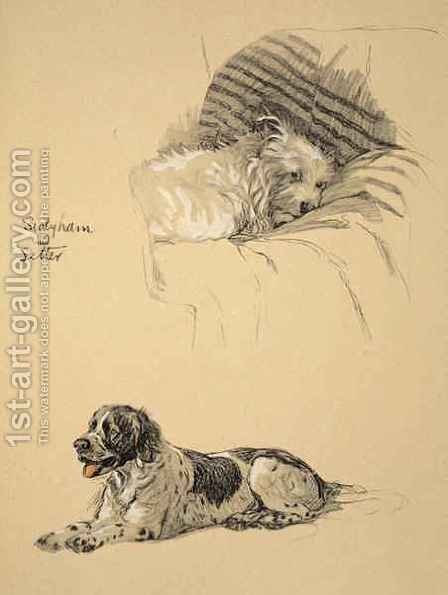 Sealyham and Setter by Cecil Charles Aldin - Reproduction Oil Painting