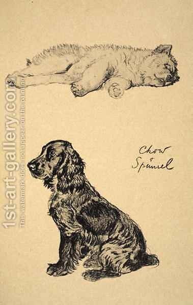 Chow and Spaniel by Cecil Charles Aldin - Reproduction Oil Painting