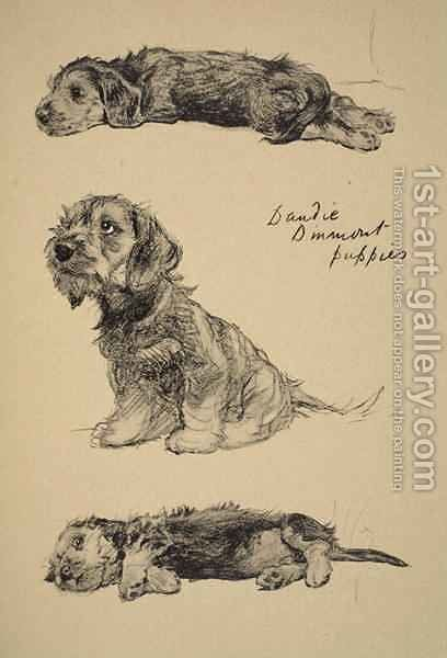 Dandie Dinmont Puppies by Cecil Charles Aldin - Reproduction Oil Painting