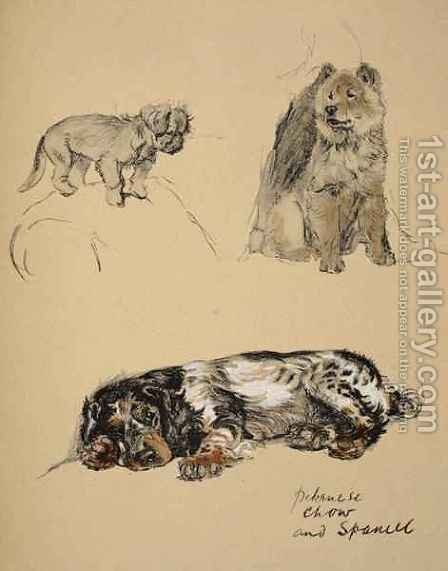 Pekinese, Chow and Spaniel by Cecil Charles Aldin - Reproduction Oil Painting