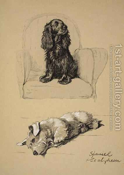 Spaniel and Sealyham by Cecil Charles Aldin - Reproduction Oil Painting