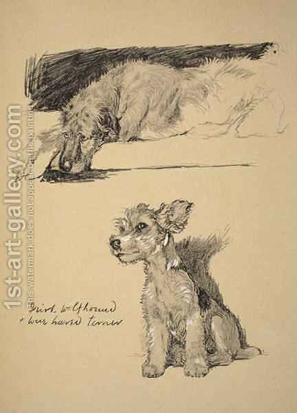 Irish Wolfhound and Wire-Haired Terrier by Cecil Charles Aldin - Reproduction Oil Painting