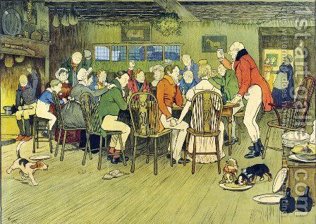 The Christmas Dinner at the Inn by Cecil Charles Aldin - Reproduction Oil Painting