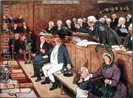 The Trial of Mr Pickwick, scene from 'Pickwick Papers' by Cecil Charles Aldin - Reproduction Oil Painting