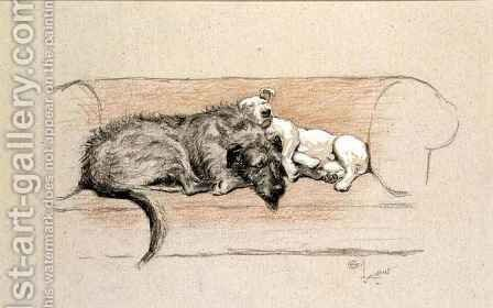 Wolfhound and Bull Terrier Asleep on a Sofa by Cecil Charles Aldin - Reproduction Oil Painting