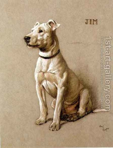Jim, a Bull Terrier by Cecil Charles Aldin - Reproduction Oil Painting
