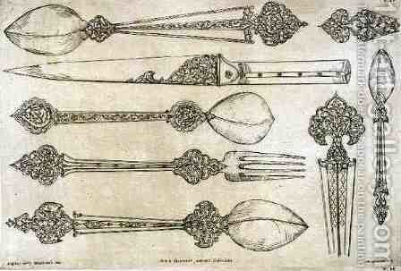 Persian design for everyday silver cutlery, from 'Art and Industry' by (after) Albanis de Beaumont, Jean Francois - Reproduction Oil Painting