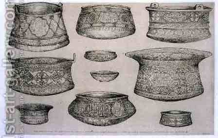 Designs for Arab and Persian Bowls and Basins, from 'Art and Industry' by (after) Albanis de Beaumont, Jean Francois - Reproduction Oil Painting