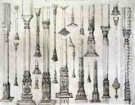 Persian and Turkish wooden column designs, from 'Art and Industry' by (after) Albanis de Beaumont, Jean Francois - Reproduction Oil Painting