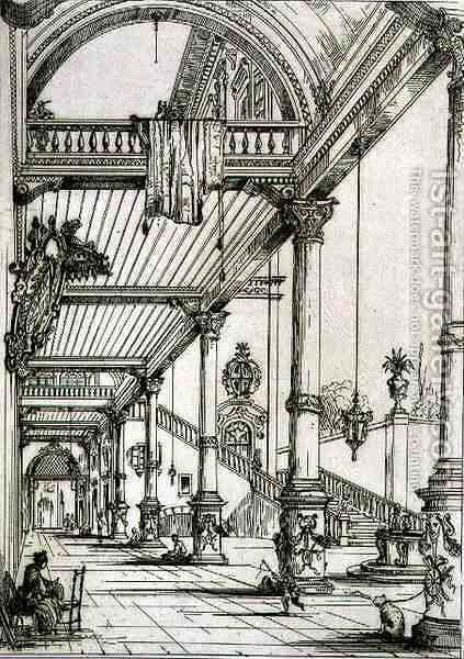 Atrium of a Palace, in Genes, from 'Art and Industry' by (after) Albanis de Beaumont, Jean Francois - Reproduction Oil Painting