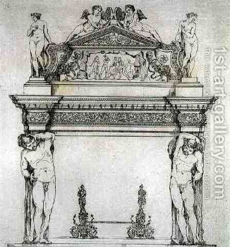 Fireplace from the Ambassadors' Hall, in the Ducal Palace, in Venice, from 'Art and Industry' by (after) Albanis de Beaumont, Jean Francois - Reproduction Oil Painting
