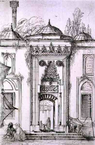 Entrance to the Mosque of Bayazid II, in Constantinople, from 'Art and Industry' by (after) Albanis de Beaumont, Jean Francois - Reproduction Oil Painting