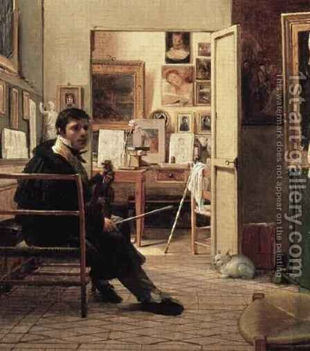 The Studio of Ingres in Rome by Jean Alaux - Reproduction Oil Painting