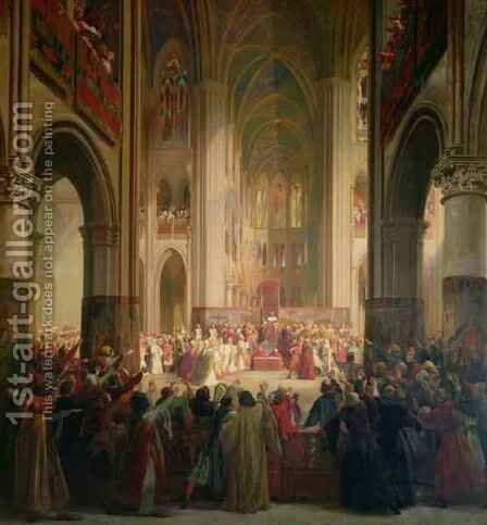 Estates General of Paris Meeting in Notre-Dame after the Death of Charles IV (1295-1328) by Jean Alaux - Reproduction Oil Painting