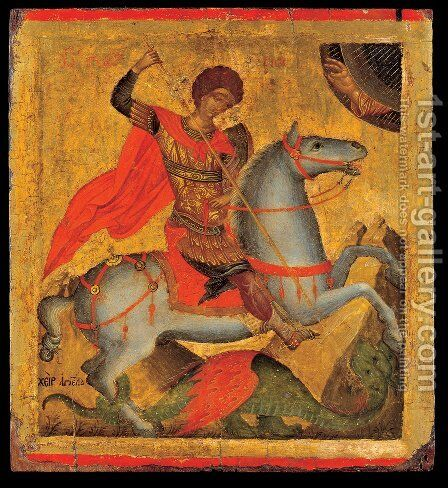 Icon of St. George on Horseback, Slaying the Dragon by Angelos Akotandos - Reproduction Oil Painting