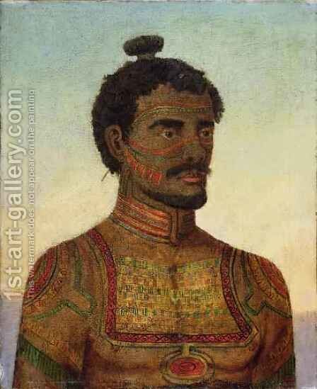 Man of the island of Nukahiwa (Nuka Hiva), Marquesas group by H Ainsworth - Reproduction Oil Painting