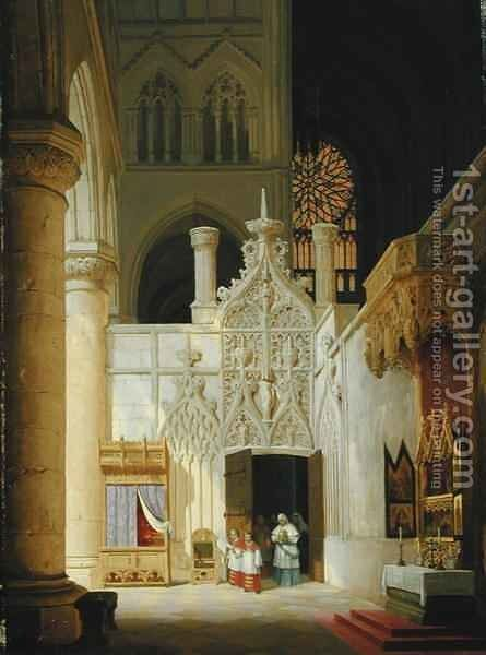 Gothic Church by Max Emanuel Ainmiller - Reproduction Oil Painting
