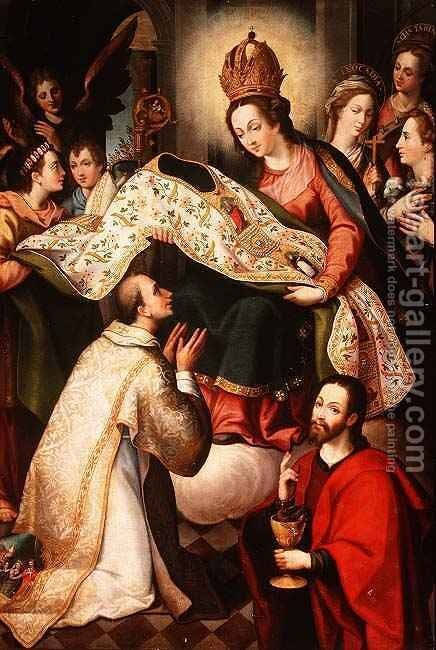 Presentation of the Cope to St. Ildefonsus by Diego de (the Younger) Aguilar - Reproduction Oil Painting
