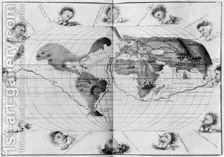 World map tracing Magellan's world voyage, from the 'Portolan Atlas of the World' by Christoph Ludwig Agricola - Reproduction Oil Painting
