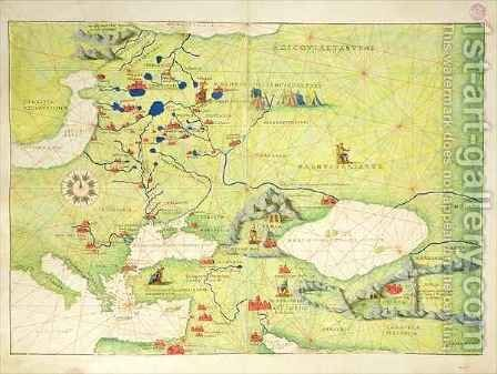Europe and Central Asia, from an Atlas of the World in 33 Maps, Venice by Christoph Ludwig Agricola - Reproduction Oil Painting