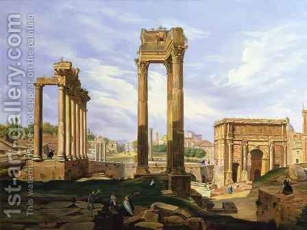 View of the Roman Forum by Jodocus Sebasiaen Adeele - Reproduction Oil Painting