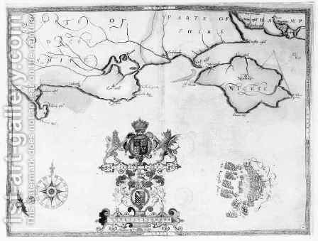 Map No.7 showing the route of the Armada fleet by (after) Adams, Robert - Reproduction Oil Painting