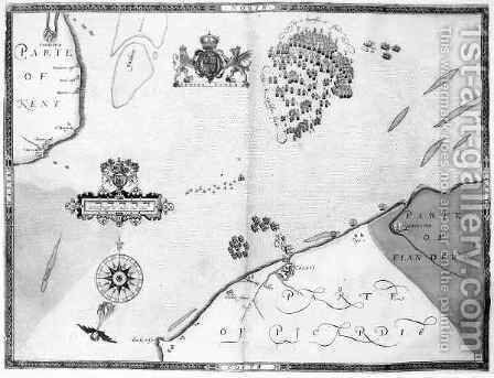 Map No.10 showing the route of the Armada fleet by (after) Adams, Robert - Reproduction Oil Painting