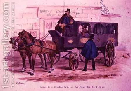 Carriage belonging to the Post Office Headquarters, also known as 'The Postmen's Carriage' by (after) Adam, V. - Reproduction Oil Painting